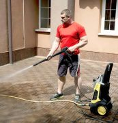 Cleaning with a pressure washer